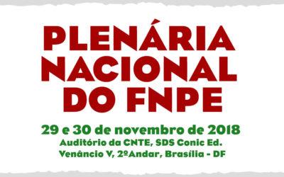 PlenáriaNacional do FNPE dias 29 e 30 de novembro de 2018